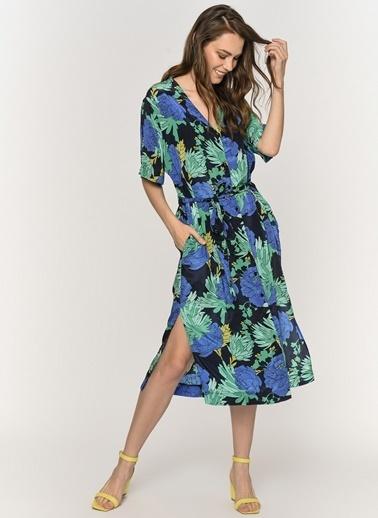 Loves You Çiçek Desenli Düğmeli Saten Görünümlü Elbise Mavi